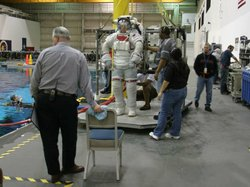 Astronaut Mike Massimino suited up during a training session.
