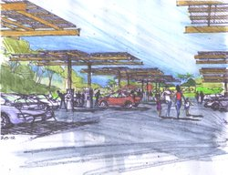 A rendering of the solar panels planned for the San Diego Zoo parking lot.