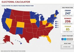 Electoral Calculator: Click states to create your 2012 predictions.