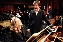 Paul McCartney and Diana Krall rehearsing.