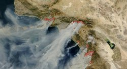 NASA Satellite Image:  Smoke From Southern California Wildfires.