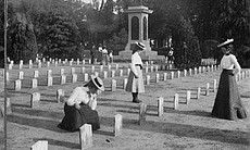Three women looking at graves in the Confederat... (18972)