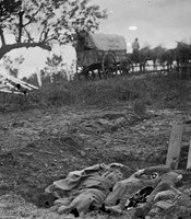 Unfinished Confederate graves near the center of the battlefield in Gettysburg, Pennsylvania, July 1863.