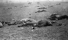 Dead Federal soldiers on battlefield at Gettysburg, Pennsylvania, July 7, 1863.
