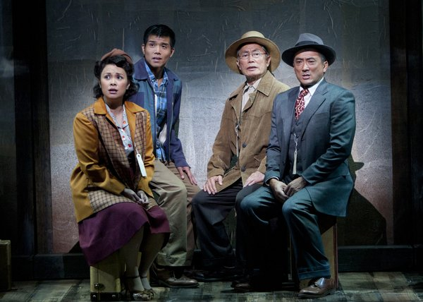 "Lea Salonga as Kei Kimura, Telly Leung as Sammy Kimura, George Takei as Ojii-san and Paul Nakauchi as Tatsuo Kimura in the premiere of ""Allegiance - A New American Musical."""