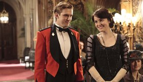 Downton Abbey Season 2: Matthew and Mary take up the cause for England as World War I rages.  Dan Stevens as Matthew Crawley and Michelle Dockery as Lady Mary