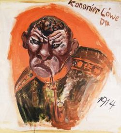 Otto Dix, Lion Cannoneer, Oil on paper, 1914.