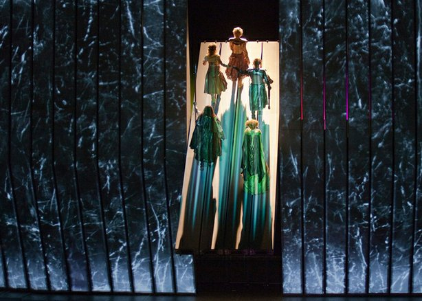 "A scene from Wagner's ""Das Rheingold"" in Robert Lepage's production."