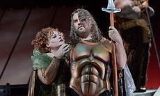 "Stephanie Blythe as Fricka and Bryn Terfel as Wotan in Wagner's ""Das Rheingold"" in Robert Lepage's production."