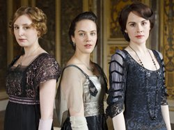 From Downton Season Two, (L-R): Laura Carmichael as Lady Edith, Jessica Brown-Findlay as Lady Sybil, and Michelle Dockery as Lady Mary.  Downton Abbey Season 3.