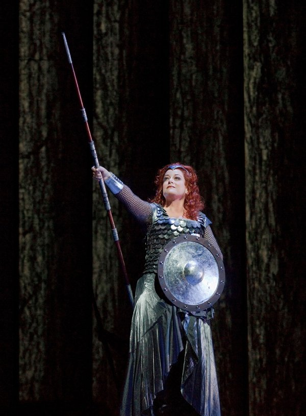 "Deborah Voigt as Brünnhilde in Wagner's ""Die Walküre."""