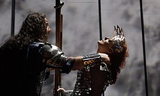 "Bryn Terfel as Wotan and Deborah Voigt as Brünnhilde in Wagner's ""Die Walküre."""