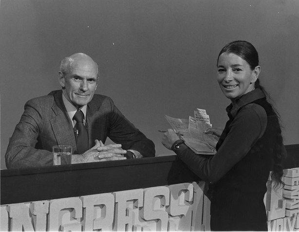 Gloria Penner with U.S. Senator Alan Cranston (D-CA) in the KPBS studios.