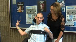 Sherrie Rubin talks to her son, Aaron Rubin, who was left paralyzed after he overdosed on OxyContin in 2005. They presented at the WAKE UP! assembly at San Diego High School on Monday, September 24, 2012.