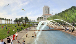 A rendering of the County Administration Building's waterfront park.