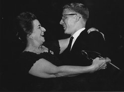 Ralph Votapek, gold medalist of the First Van Cliburn International Piano Competition in 1962, with General Chairman of the Competition Grace Ward Lankford.