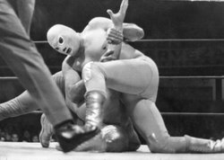 Wrestler El Santo in competition, late 1960s.