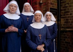 Judy Parfitt as Sister Monica Joan, Pam Ferris as Sister Evangelina, Jenny Agutter as Sister Julienne and Laura Main as Sister Bernadette in CALL THE MIDWIFE.