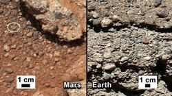 NASA says it has found proof that water shaped the rocks on the left, in a ph...