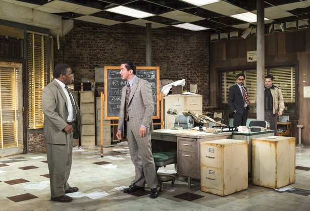 "Ray Anthony Thomas, Johnny Wu, Manu Narayan and Jeff Marlow in La Jolla Playhouse's production of ""Glengarry Glen Ross."""