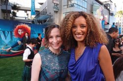 """Scottish singer Julie Fowlis and SOUND TRACKS reporter Mirissa Neff on the red carpet at the Los Angeles premiere of """"Brave."""""""