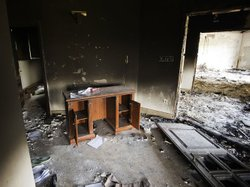 Damage inside the burnt U.S. consulate in Benghazi after an attack on the bui...
