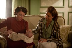 "Keeley Hawes as Lady Agnes Holland and Alex Kingston as Blanche Mottershead in ""Upstairs Downstairs, Season 2."""