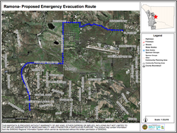The proposed evacuation route out of Ramona.