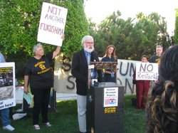 Del Mar city councilman, Don Mosier, speaking at a news conference outside th...
