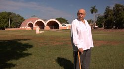 Architect Ricardo Porro in front of the School of Plastic Arts, National Art Schools, Cuba.