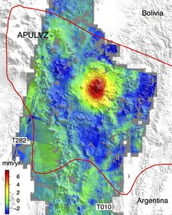 The sombrero uplift (red center) is located in the middle of an active magma ...