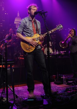 Bon Iver frontman Justin Vernon, joined by an eight-piece band, performs mate...