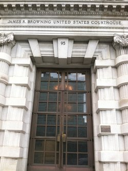 The entrance to the Ninth Circuit Court of Appeals courthouse in San Francisco.