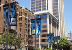 Street banners promote San Diego's Comic-Con.