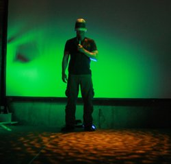 Artist/Professor Jordan Crandall during a performance of his drone-inspired w...
