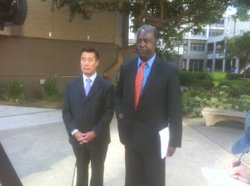 Democratic State Senator Leland Yee and Philip Liburd, of the San Diego NAACP, came to San Diego's Civic Center Plaza to lend their support to a Common Cause campaign to prevent voter intimidation.