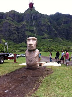 "Moai re-creation held up by strap. The NOVA team tests the theory that the islanders used ropes to ""walk"" the statues upright, like moving a fridge."