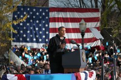 President Barack Obama addresses a campaign rally at Washington Park November...