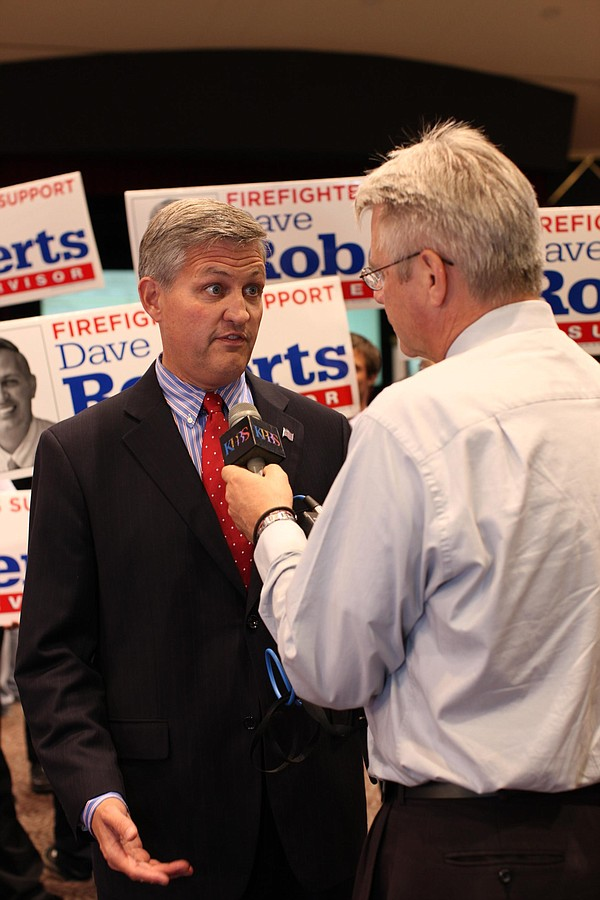 San Diego County Supervisor candidate Dave Roberts (D) speaks with reporters ...