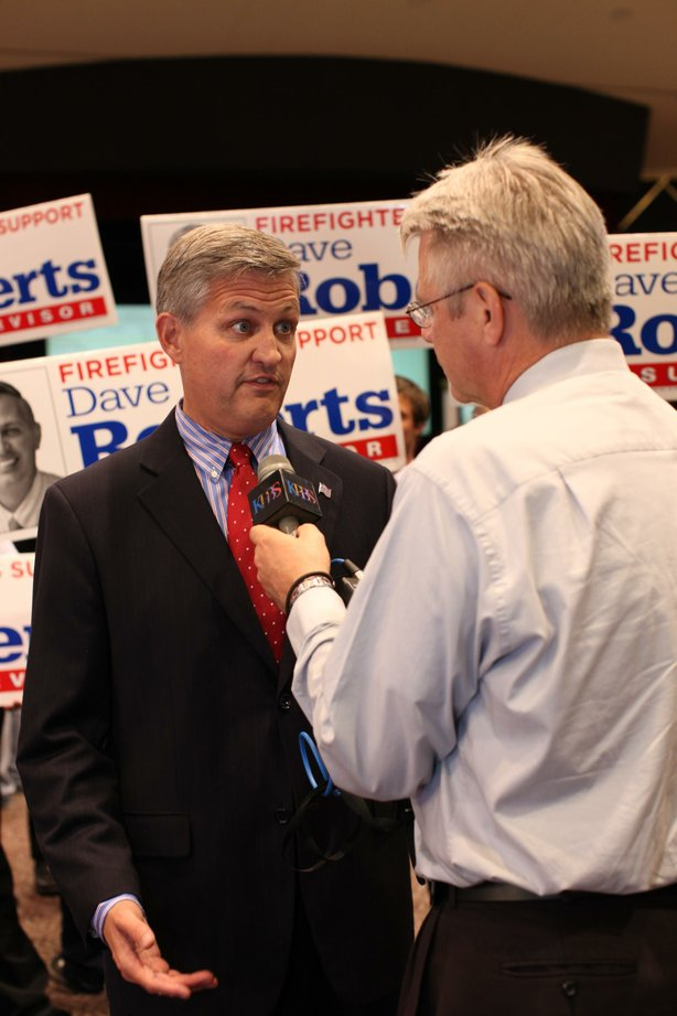 San Diego County Supervisor candidate Dave Roberts (D) speaks with reporters at Golden Hall on November 6, 2012.