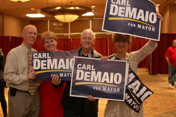 Supporters of San Diego mayoral candidate Carl DeMaio (R) at Golden Hall on November 6, 2012.