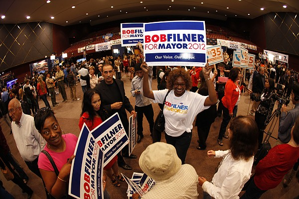 Supporters of San Diego mayoral candidate Rep. Bob Filner (D) at Golden Hall ...