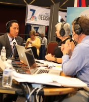 City Councilmember Todd Gloria (District 3) speaks with KPBS reporters Peggy Pico and Tom Fudge at Golden Hall, November 6, 2012.