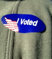 Jennifer Roberts' I Voted sticker.