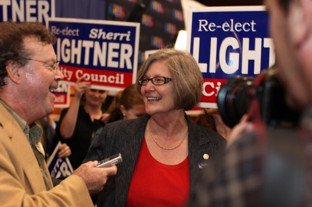 San Diego City Councilwoman Sherri Lightner speaks with reporters at Golden Hall on November 6, 2012.