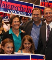 California State Assembly candidate Brian Maienschein with supporters at Golden Hall, November 6, 2012.