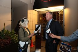Congressional candidate Scott Peters (D) speaks with reporters at the Westin ...