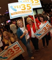 Supporters of Proposition 35 at Golden Hall on November 6, 2012.