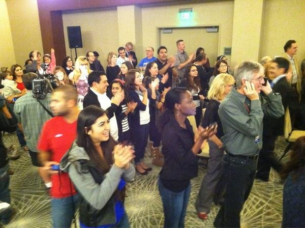 The Democratic headquarters at the Westin in San Diego celebrates President Obama's win.