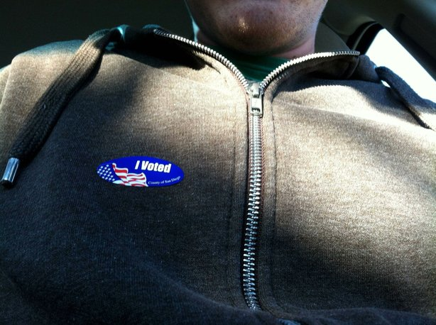 "Matthew DeJonghe Wright's ""I Voted"" sticker."